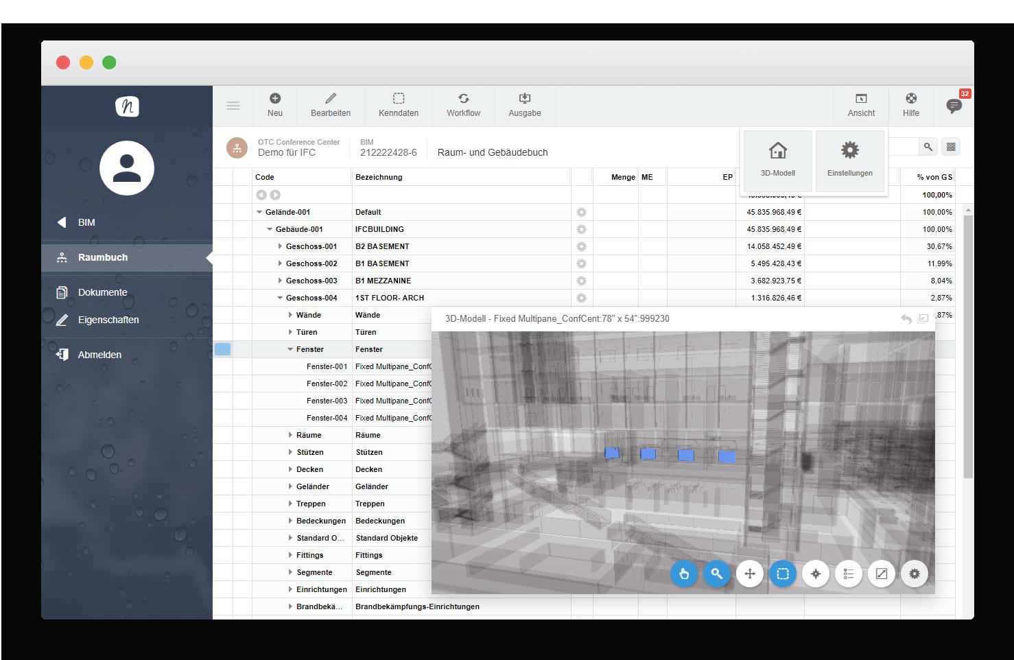 BIM Add-On  Building Information Model  3D-modellbasiertes