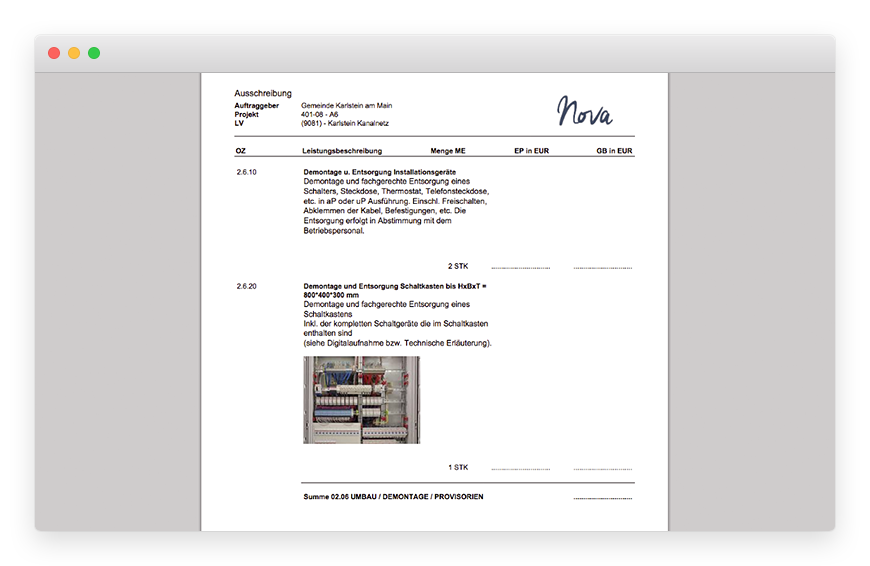 Here you can see the page preview (PDF) of the complete service specification.